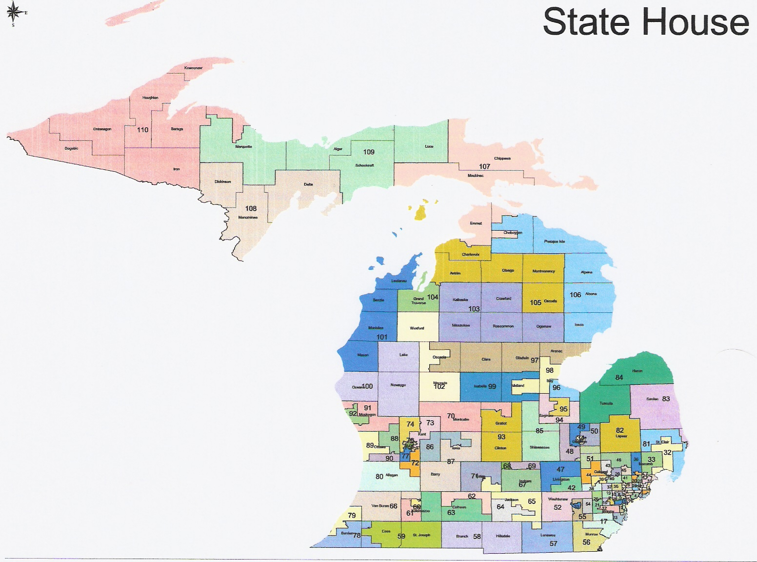 Michigan State House Of Representatives District Map Michigan Map - Michigan state map